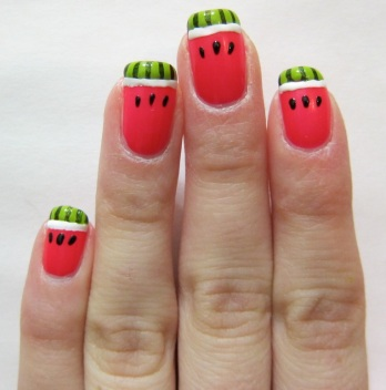 Watermelon nail art BBQ